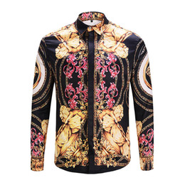 Wholesale Clear Colour - newEST 2018 Of Men Floral Print Colour Mixture Luxury Casual Harajuku Shirts Long sleeves Men's Medusa Shirts M--2XL