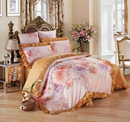 Wholesale Pink Jacquard Bedspread - Comfortable Satin Jacquard Bedding Sets Ruffles Designer Bedding Sets Luxury Set High Quality Duvet Cover Bedspread