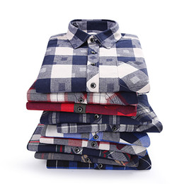 Wholesale flannel clothes - Brand Men's Shirts 2018 Spring Autumn New Male Casual Shirts Cotton Flannel Plaid Long Sleeve Shirt High Quality Clothes Camisa