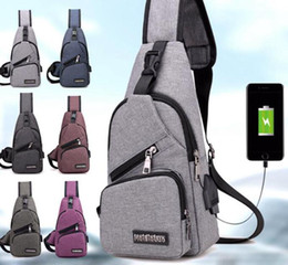 Wholesale Usb Door - External USB charge chest bags pack travel crossbody bag For boys and girls Sling Shoulder Bag Travel Sport Purse with USB Charging