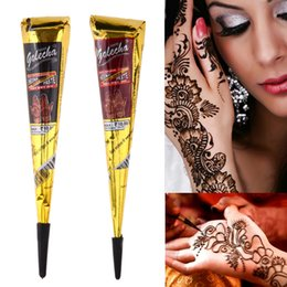 Wholesale tattoo draws - 1pc henna for tattoo Body Art Paint High Quality Mini Natural Indian Henna Tattoo Paste for Body Drawing Black