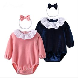 Wholesale Hairband Christmas - IN stock INS 2018 new style spring NEW ARRIVAL Kids Cotton Long Sleeve Lotus Leaf Lapel Romper 100% cotton baby Climb Velvet romper+hairband
