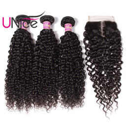 Wholesale Bulk Curly Hair Extensions - UNice Hair Malaysian Curly Wave Bundles With Closure 4x4 Lace Closures Human Hair Extensions Weave Bundles With Closure Cheap Bulk Wholesale