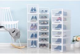 organisateur empilable Promotion Chaussures en plastique transparent empilables Boîte de rangement Creative Drawer style antipoussière Femme Homme Chaussures enfants Organisateur Case haute Chaussures à talons
