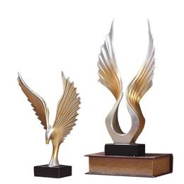 Harz engel flügel online-Haushalt Einzigartige Rose Gold Angel Wings Figuren Dekoration Exquisite Harz Flügel Hochzeit Decor Personalisierte Geschenke Handwerk