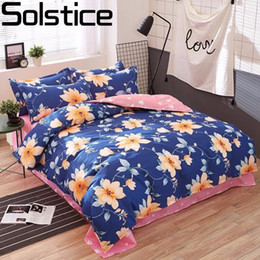 Wholesale Light Pink Full Size Bedding - Solstice Home Textile Fashion Pastoral Style 4 Pcs Bedding Set Bed Sheet+duvet Cover+pillowcase Cloud Bed Cover Bedlinens 5 Size