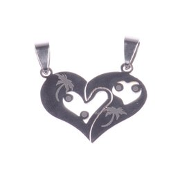 couples pendants UK - Couple Love Heart Statement Pendant Necklace 2018 Fashion Black Silver Stainless Steel Pendants Necklaces Fashion Jewelry Making