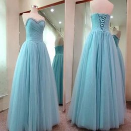 Wholesale Long Corset Bridesmaid Dresses - Light Sky Blue Sweetheart Beaded Collar Long Bridesmaid Dresses 2018 A Line Tulle Corset Back Custom Made Wedding Party Guest Dresses