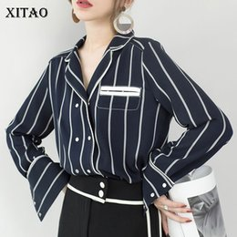 Wholesale Double Collar Shirt Women - [XITAO] 2018 Spring New Korea Fashion Women Double Breasted Striped Shirts Female Full Sleeve Turn-Down Collar Blouses XWW3660