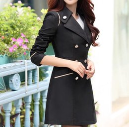 Wholesale Trench Coat For Women Pink - Wholesale-Spring Trench Coat For Women 2017 Fashion Turn-down Collar Double Breasted Candy Color Long Autumn Coats Plus Size M-XXXL
