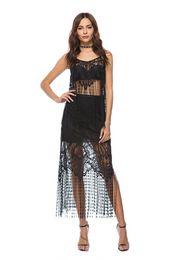 e2d3a89116ee8 New Women Crochet Swimsuit Cover-up Long Black white Maxi Lace Beach Dress  Fashion sexy tassels Long Beachwear Bikini dress