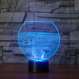 Wholesale Headphones Cartoons - Fish Tank shape Acrylic 3D Night Light LED 3D Illusion USB RGB Night Light Desk Lamp Home Decor Holiday Gift Headphone