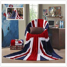 Wholesale Single Throw - USA UK Flag Blankets 150*200cm Comfortable Warm Sofa Cover Single Bedsheet American Flag Plaid Flannel Coral Fleece Throws 20pcs OOA4324
