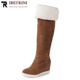 Argentina RIBETRINI Moda volteado Edge Platform Super High Hidden Wedges Flock Cover hasta la rodilla Botas de invierno para damas 2018 cheap hidden boots Suministro