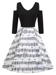 weiße hochzeit mini spitze schultern Rabatt Musik Noten Vintage-Kleid für Frauen Retro 50er Jahre Stil V-Ausschnitt halbe Hülse Patchwork Party eine Linie Swing Kleider
