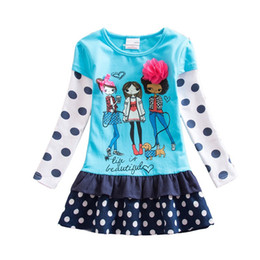 Wholesale Embroider Baby - 2017 New Dress Baby Girl Print Lace Tutu Party Princess Dresses Vestido Children Clothes Kids Wear Cute Kids Clothing H6495