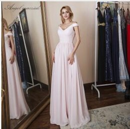Canada Ange marié Vente Robes de demoiselle d'honneur élégant cap manches rose en mousseline de soie formelle robe longue robe de soirée de mariage estido de festa Offre