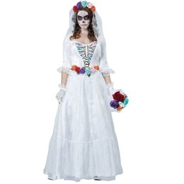 horrible costumes Promo Codes - Free shipping horrible costume Women Zombie Bride Halloween Costume devil Party Dress white bride Costumes 40079