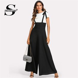 fd9dfcb5dff Sheinside Black Straps Office Ladies Workwear Elegant Wide Leg Jumpsuit  High Waist Plain Knot Loose Women Autumn Jumpsuit