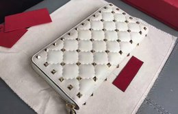 Wholesale Red White Pillows - AAAAA Long Wallet Rockstud Spike Wallets,Zip Closure,Internal 12 Card Slots,Platinum-finish studs,with Box Dust Bag Receipt,Free Shipping