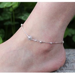 Wholesale water beads for plants - Fashion 925 Silver Chain Anklet Hollow Bead Ankle Bracelets 25.5+3.5cm Chain Foot Jewelry for Women