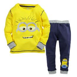 Chicos chaquetas amarillas online-Los nuevos niños y niñas se adaptan a los dibujos animados pequeñas personas amarillas chaqueta de manga larga + pantalones 2 piezas 520