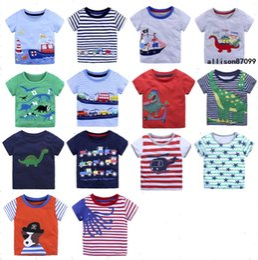 Wholesale Boys Striped Shirts - Hotsale Kids T-shirts Boys Cartoon Tees Children clothing Beach Sailing boat Dinosaur Cars Short sleeve Cotton Stripes 2018 Summer 18M-6Y