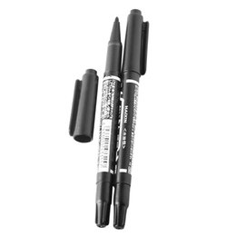 Wholesale Piercing Pen - 10 Pcs Box Dual Tip Surgical Eyebrow Black Oil Ink Tattoo Skin Marker Piercing Marking Pen Tattoo Supply For Permanent Makeup