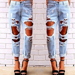 Wholesale Loose Pants For Women - New Boyfriend Hole Ripped Jeans Women Pants Cool Demin Loose Vintage Jeans For Girl Mid Waist Casual Pants Female