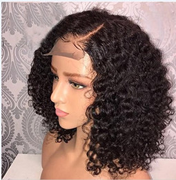 front laced short wig Promo Codes - Human Hair Lace Front Bob Wigs Brazilian Curly Short Full Lace Wig with Baby Hair Side Part Glueless Lace Front Wig for Women
