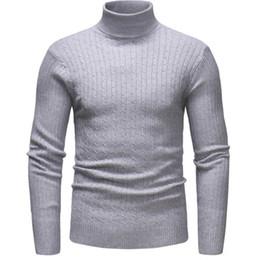 2020 pullover uomo maglieria Inverno collo alto spessore caldo maglione uomini collo alto da uomo slim fit pullover uomini solidi maglieria nera maglioni sconti pullover uomo maglieria