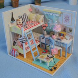 Wholesale 12 Months Live - Wholesale- 3D Kids Wooden Toy Assemble Diy Doll House Toy Miniatura Doll Houses Furniture Kits Girls Living Room Decor Kids Birthday Gift