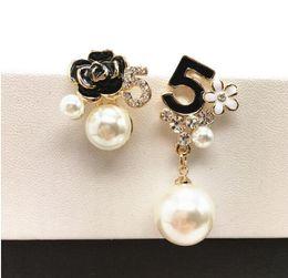 Wholesale designer jewelry earrings - E103 Pearl Number 5 Long Dangle Chain Famous Brand Designer Luxury Jewelry Jewlery Brincos Orecchini Earrings For Women