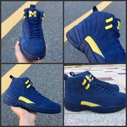 36532ea7233be1 2018 New Jumpman XII 12 Michigan Blue Yellow Basketball Shoes for High  quality Mens Women Pink 12s Suede PSNY Sports Sneakers Size 36-47 shoes for  women ...
