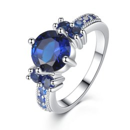 Wholesale Solid Sterling Silver Charms - Luxury 7ct Blue Sapphire Ring Solid 925 Sterling Silver Jewelry Emerald Design Fabulous Charm bague anel masculino