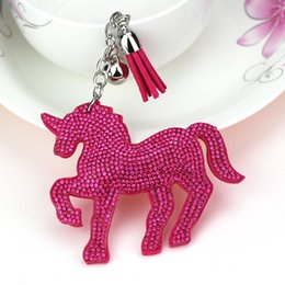Wholesale Leather Tassels Wholesale - new fashion unicorn pony bag pendant crystal shinning keychain tassel key ring flannelette hot diamonds accessories lady gift