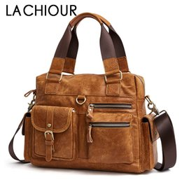 Brwon Genuine Leather Men Travel Bag Handbags Business Casual Men s Laptop  Shoulder Bags Leather Tote Briefcase 9b18327f0a29a
