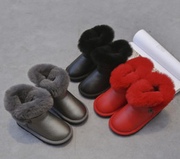 Wholesale flower fringe - Children 's snow boots winter new leather children' s shoes girls low - tube boots warm cotton cotton baby shoes