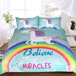 Wholesale animal bedspreads - Unicorn Bedding Set Believe Miracles Cartoon Single Bed Duvet Cover Animal For Kids Girls 3pcs Rainbow Bedspreads