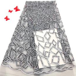 Canada VILLIEA De Haute Qualité Africaine Dentelle Tissu Argent Gris Français Net Broderie Sequins Tulle Dentelle Tissu Pour La Robe De Soirée Nigérian cheap silver sequin fabric dresses Offre