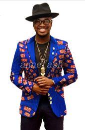 Wholesale Purple Leisure Suit - 2017 new African leisure suit real cotton batik printing fabric men suit Mens casual blazer