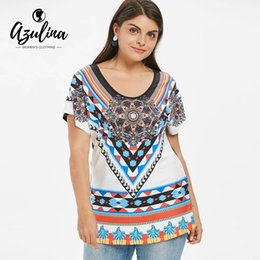 Magliette tribali online-AZULINA Plus Size Stampa afro Tunica T-Shirt Donna Top Estate Scoop manica corta Tribal T-shirt stampate signore Shirt Tees