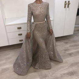 Wholesale Lace Beaded Fabric Straps - Bling Bling Muslim Mermaid Formal Evening Dresses With Overskirts Removable Train 2018 Turkish Arabic Dubai Bling Unique Fabric Prom Gowns