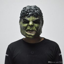 Wholesale hulk masks - Green Hulk Mask Men's Silicone Face Mask Movie Cosplay Props Fancy Dress for Halloween