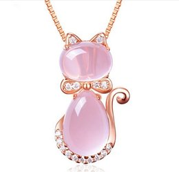 Wholesale Natural White Opal Pendant - Cute Necklace Plated Rose Gold Natural Hibiscus Pink Crystal Cat Lady Pendant Clavicle Chain Jewelry Pendant