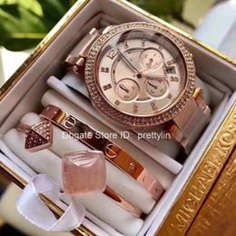 Orologio da polso k online-Hot M K Un set di Damenuhr Parker Edelstahl Cronografo Womens Diamond Gold Watch 5905 Quarzo Mens Orologi da polso