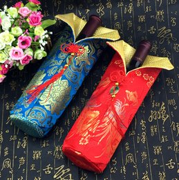Wholesale Silk Chinese Wine Bottle Bags - Chinese knot Silk brocade Bag for Wine Bottle Clothes Protective Cover Party Table Decoration Bottle Packaging Bags 10 pcs lot