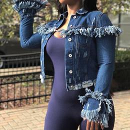 Nouveau manteau de veste en denim pour femmes usé jusqu'à la bordure courte Tassel wind designer manteau manteaux femme mode vestes en denim slim ? partir de fabricateur
