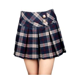 Wholesale Pleated Skater Mini Skirt - 2018 Autumn Spring Fashion Womens Pleated Tartan Wool Blend Skirt High Quality Scotland Scottish Mini Skirts Kilt Skater