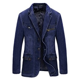 2018 L-3XL Denim Jacke Männer Blazer Baumwolle Anzüge für Männer Cowboy Blazer Jeans Jacke Männer Jaqueta Brand-Kleidung Freizeitjacke Suit S18101902 von Fabrikanten